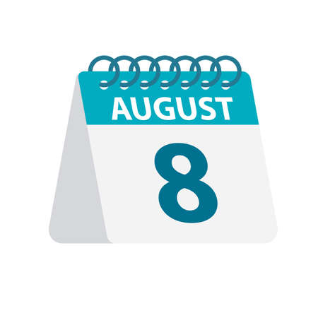 August 8 - Calendar Icon - Vector Illustration 向量圖像