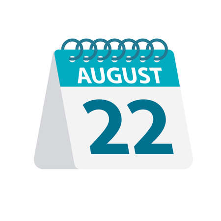 August 22 - Calendar Icon - Vector Illustration