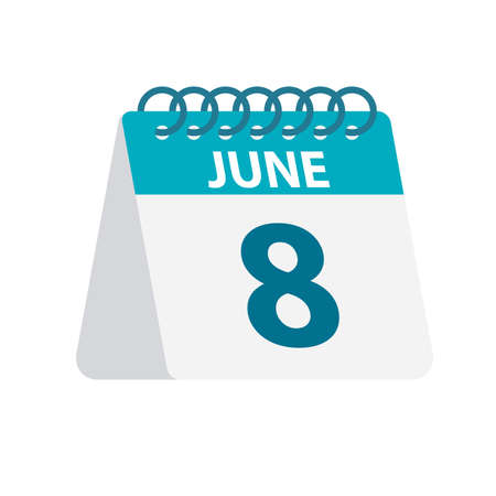 June 8 - Calendar Icon - Vector Illustration