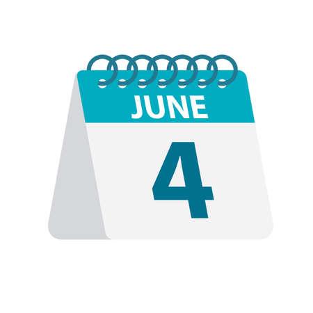 June 4 - Calendar Icon - Vector Illustration