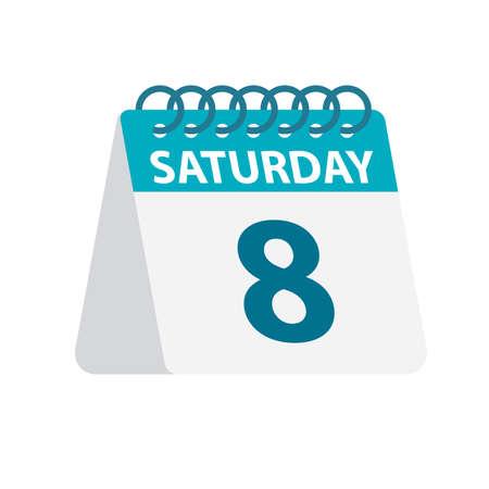 Saturday 8 - Calendar Icon - Vector Illustration  イラスト・ベクター素材