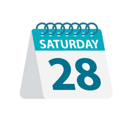 Saturday 28 - Calendar Icon - Vector Illustration