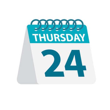 Thursday 24 - Calendar Icon - Vector Illustration