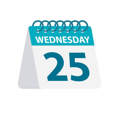 Wednesday 25 - Calendar Icon - Vector Illustration Иллюстрация