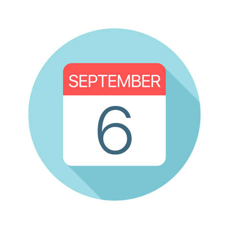 September 6 - Calendar Icon - Vector Illustration Stock Illustratie