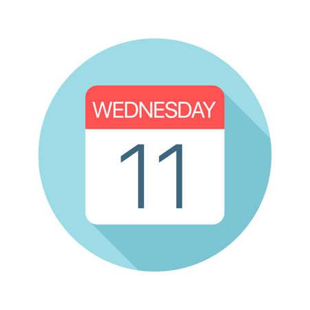Wednesday 11 - Calendar Icon - Vector Illustration Illustration