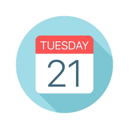 Tuesday 21 - Calendar Icon - Vector Illustration