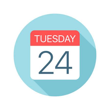Martes 24 - Icono de calendario - Ilustración vectorial