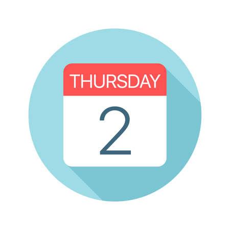 Donderdag 2 - Kalenderpictogram - Vectorillustratie
