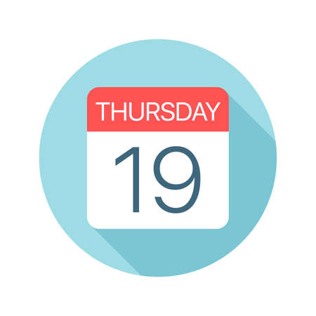 Thursday 19 - Calendar Icon - Vector Illustration