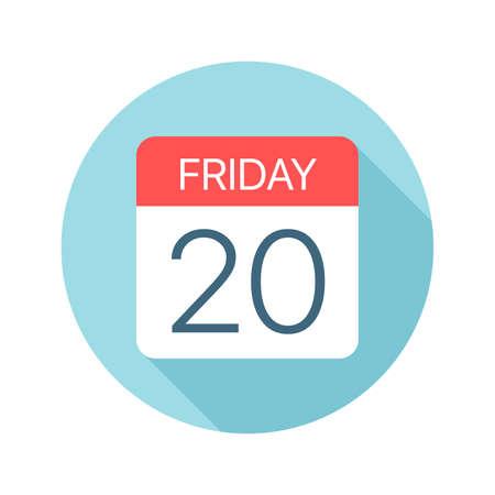 Friday 20 - Calendar Icon - Vector Illustration