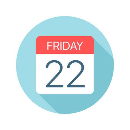Friday 22 - Calendar Icon - Vector Illustration