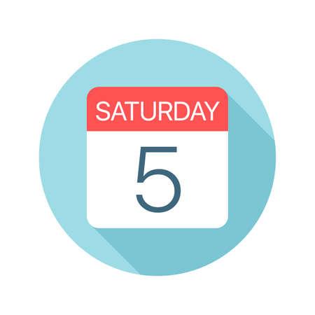 Saturday 5 - Calendar Icon - Vector Illustration Фото со стока - 128501400