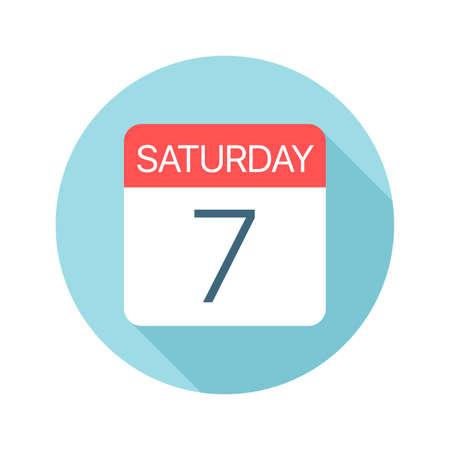 Saturday 7 - Calendar Icon - Vector Illustration Фото со стока - 128501403