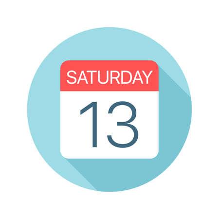 Saturday 13 - Calendar Icon - Vector Illustration