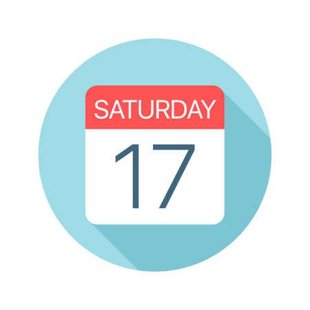 Saturday 17 - Calendar Icon - Vector Illustration 矢量图像