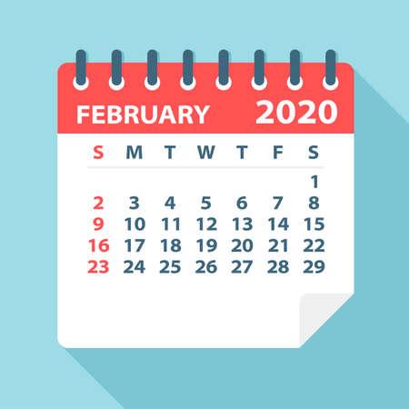 Feuille de calendrier de février 2020 - Illustration. Page graphique vectorielle