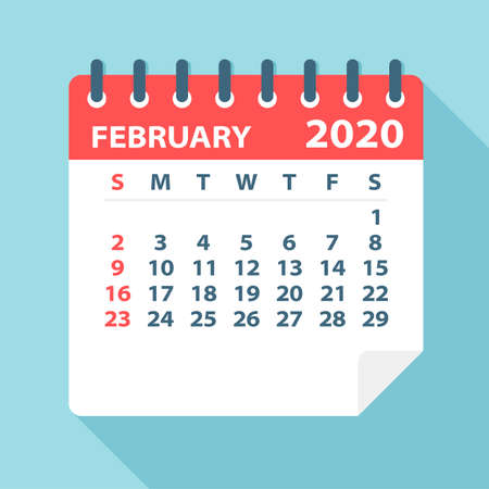 Hoja de calendario de febrero de 2020 - Ilustración. Página de gráficos vectoriales