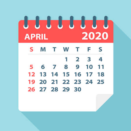 April 2020 Calendar Leaf - Illustration. Vector graphic page Vectores