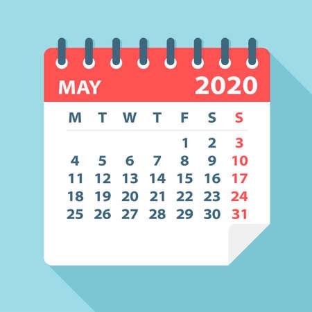 Kalenderblad mei 2020 - Illustratie. Vector grafische pagina
