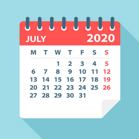 July 2020 Calendar Leaf - Illustration. Vector graphic page
