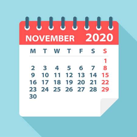 Feuille de calendrier de novembre 2020 - Illustration. Page graphique vectorielle