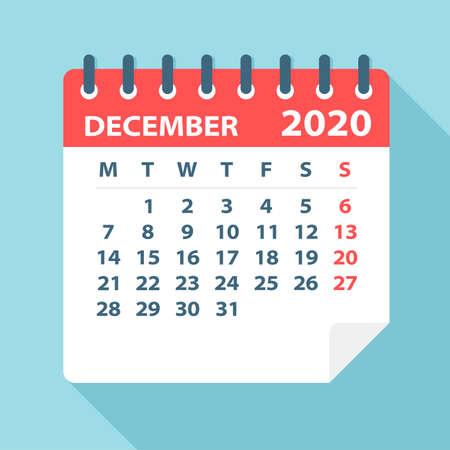 Feuille de calendrier de décembre 2020 - Illustration. Page graphique vectorielle Vecteurs