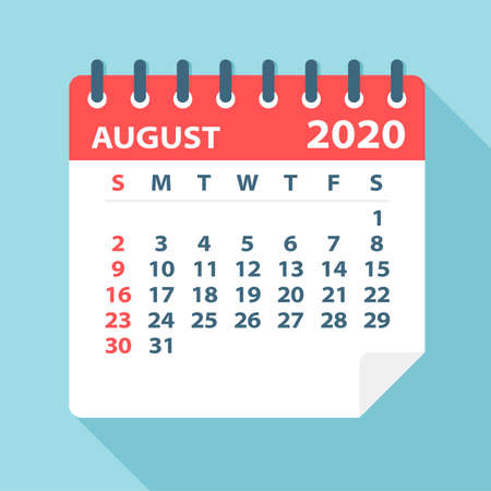 August 2020 Calendar Leaf - Illustration. Vector graphic page