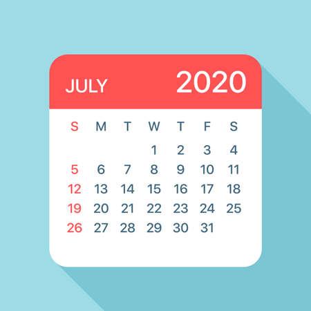 July 2020 Calendar Leaf - Illustration. Vector graphic page Vector Illustratie