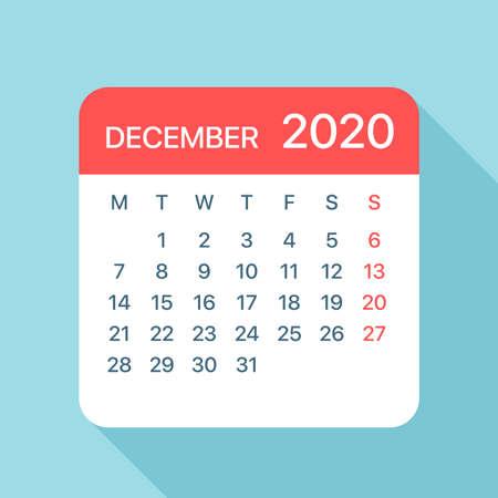 Kalenderblad december 2020 - Illustratie. Vector grafische pagina