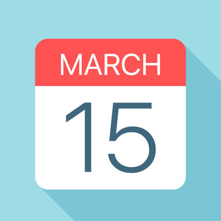 March 15 - Calendar Icon - Vector Illustration