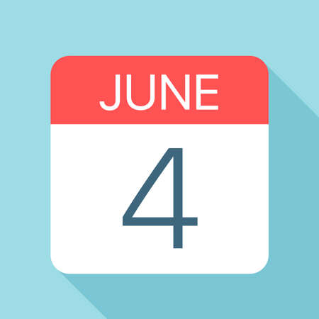 June 4 - Calendar Icon - Vector Illustration