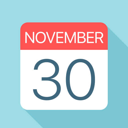 November 30 - Calendar Icon - Vector Illustration