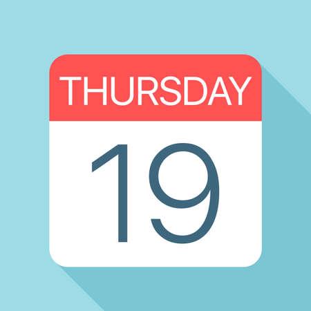 Thursday 19 - Calendar Icon - Vector Illustration