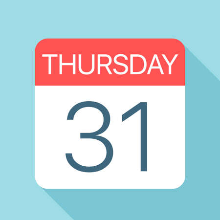 Thursday 31 - Calendar Icon - Vector Illustration