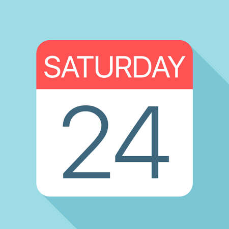Saturday 24 - Calendar Icon - Vector Illustration