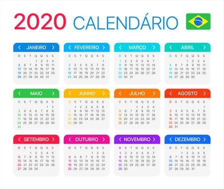 Vector template of color 2020 calendar - Brazilian version