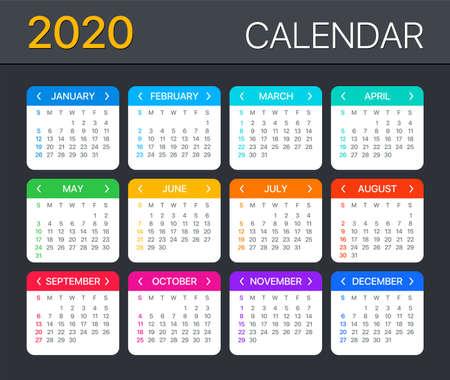 Modèle vectoriel du calendrier couleur 2020 - du dimanche au lundi