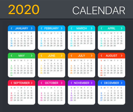 Vector template of color 2020 calendar - Sunday to Monday Çizim