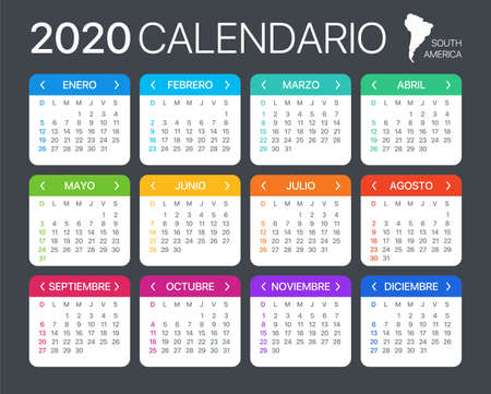 2020 calendar - Spanish South Latin American Version - Vector Template 矢量图像