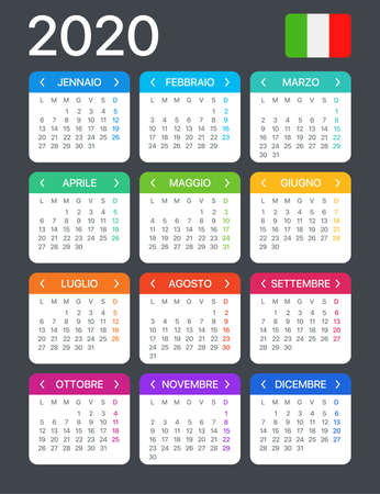 2020 calendar - Italian version - Vector Template 矢量图像