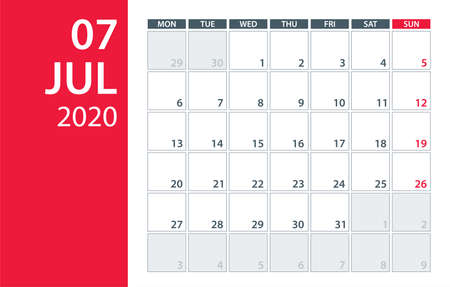 July 2020 Calendar Planner - Vector  Template Mock up