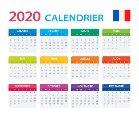 Szablon wektorowy kalendarza kolor 2020 - wersja francuska
