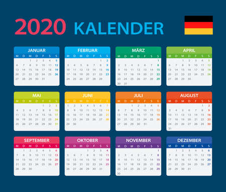 Vector template of color 2020 calendar - German version