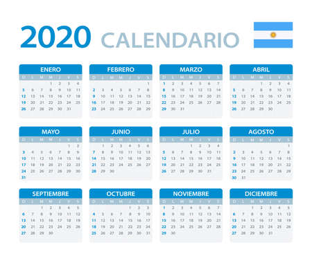Vector template of color 2020 calendar - Argentinian version