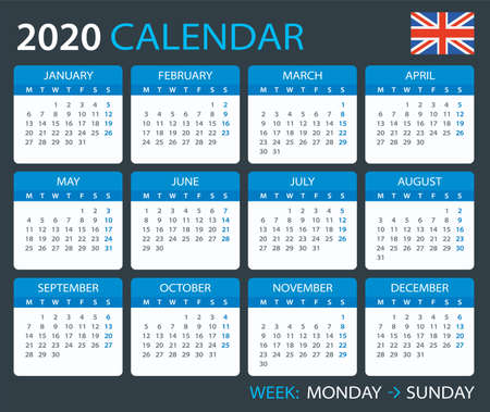Vector template of color 2020 calendar - English version Illusztráció