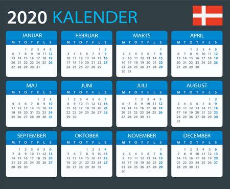 Vector template of color 2020 calendar - Danish version