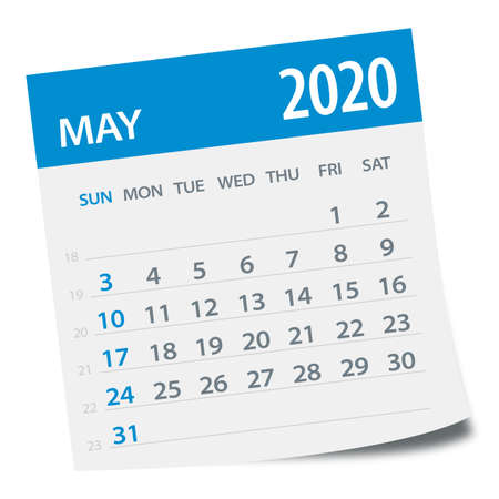 May 2020 Calendar Leaf - Illustration. Vector graphic page