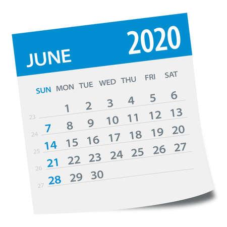 June 2020 Calendar Leaf - Illustration. Vector graphic page