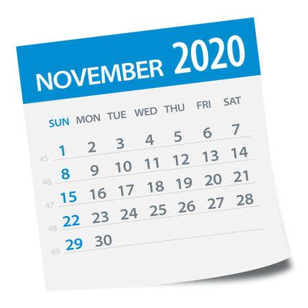 November 2020 Calendar Leaf - Illustration. Vector graphic page Ilustración de vector